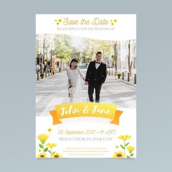Wedding invitation template with bride and groom