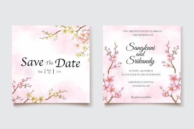 Wedding invitation template with cherry blossom