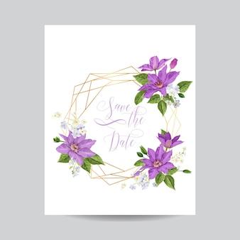 Шаблон приглашения на свадьбу с цветами клематисов и золотой рамкой. тропический цветочный сохранить дату карты. романтический дизайн экзотических цветов для поздравительной открытки, дня рождения, юбилея. векторная иллюстрация
