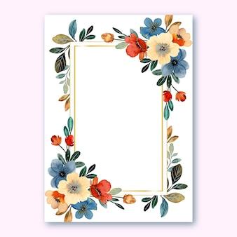 Шаблон свадебного приглашения с красочным акварельным цветком