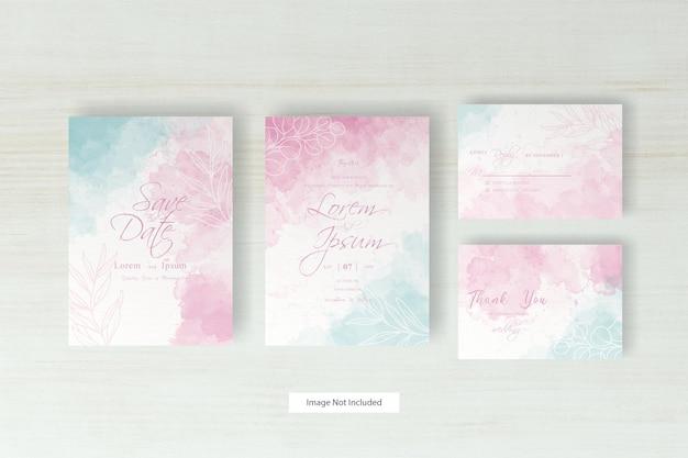 Шаблон свадебного приглашения с красочными акварельными всплесками и рисованной акварелью