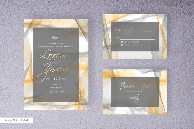Wedding invitation template with colorful watercolor splash and hand drawn   watercolor