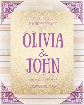 Wedding invitation template with corner decoration