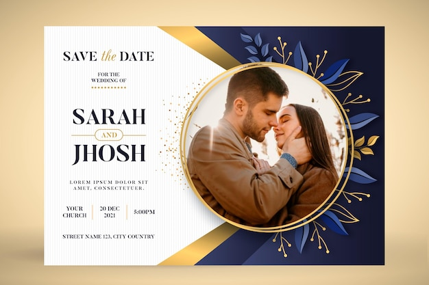 Wedding invitation template with couple photo