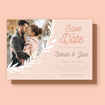 Wedding invitation template with couple
