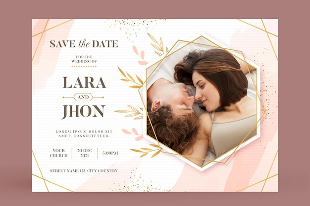 Wedding invitation template with cute couple