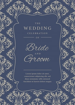 Wedding invitation template with damask pattern