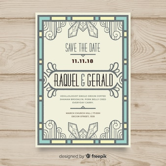 Wedding invitation template with decorative art deco concept