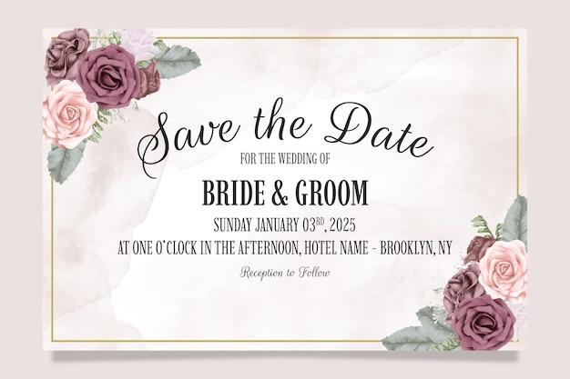 먼지가 많은 수채화 장미와 결혼식 초대장 템플릿 나뭇잎 장식 개념