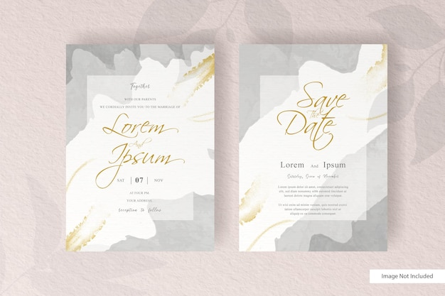Wedding invitation template with elegant abstract fluid splash