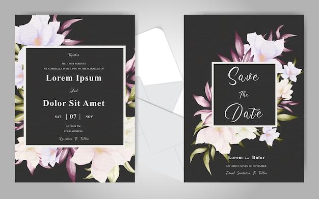 Шаблон свадебного приглашения с элегантной цветочной композицией и листьями
