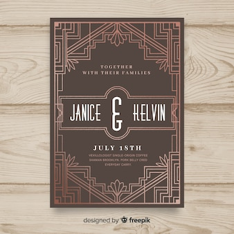Wedding invitation template with elegant art deco concept