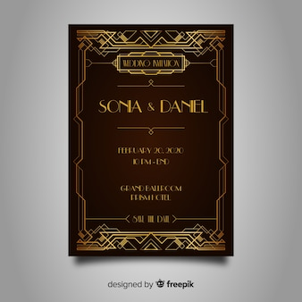 Wedding invitation template with elegant art deco design
