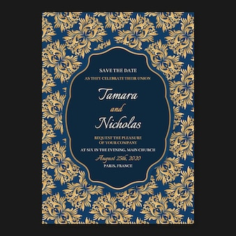 Wedding invitation template with elegant damask style