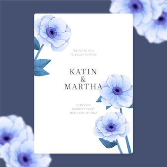 Wedding invitation template with elegant flowers