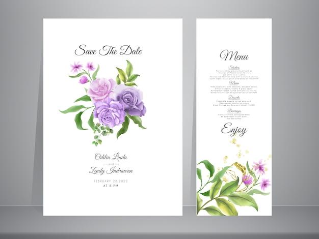エレガントな手描きのバラの結婚式の招待状のテンプレート