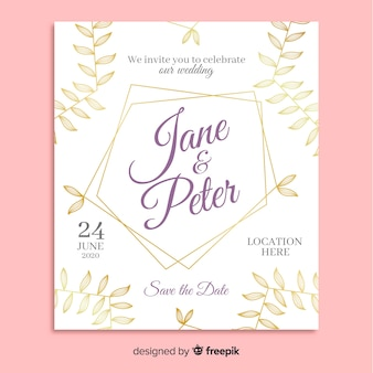 Wedding invitation template with elegant ornaments