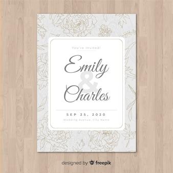エレガントな牡丹の花と結婚式の招待状のテンプレート