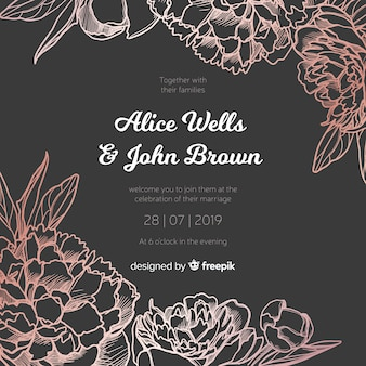 Wedding invitation template with elegant peony flowers