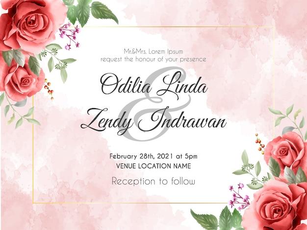 エレガントな赤いバラのイラストと結婚式の招待状のテンプレート