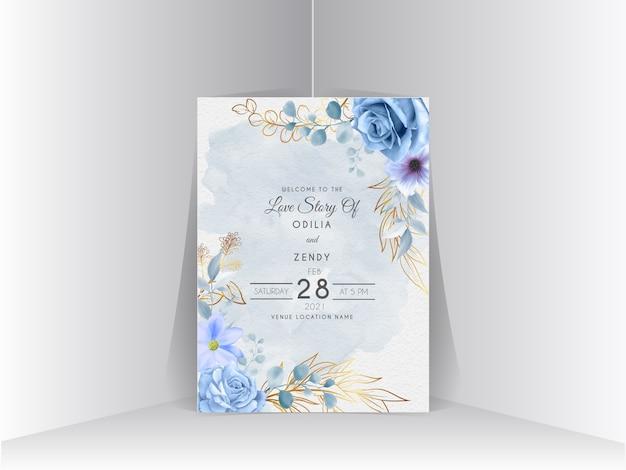 エレガントなロイヤルブルーのバラのデザインの結婚式の招待状のテンプレート