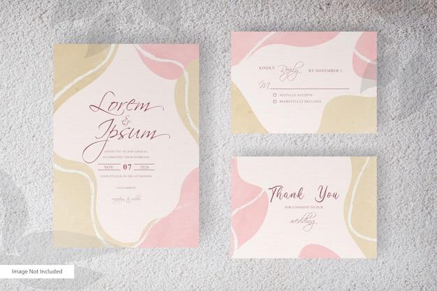 エレガントな水彩スプラッシュと抽象的な流動的な形の結婚式の招待状のテンプレート