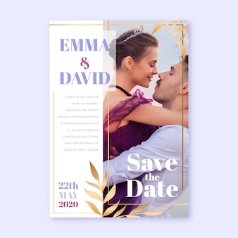 Wedding invitation template with embraced couple
