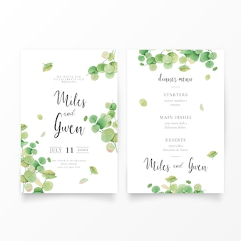 Wedding invitation template with eucalypt leaves & menu