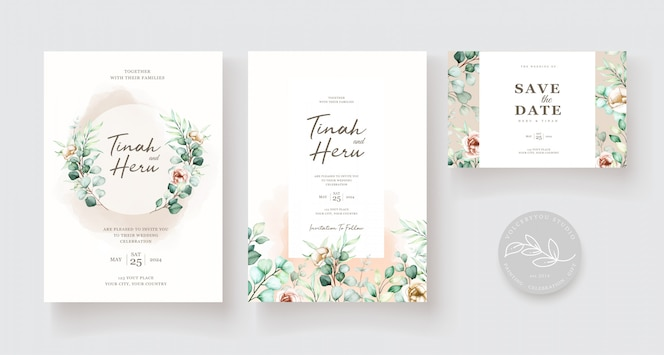 Wedding invitation template with eucalyptus leaves set