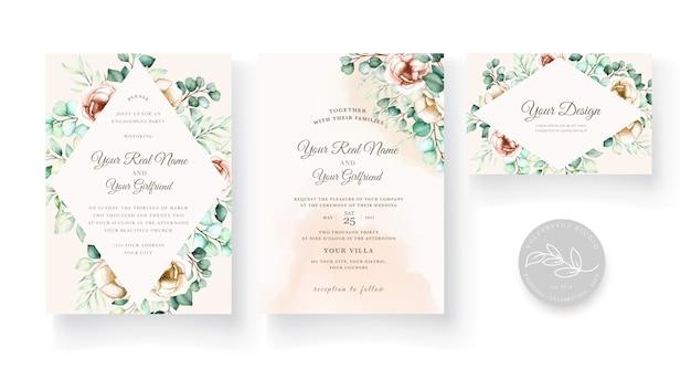 ユーカリの葉の結婚式の招待状テンプレートセット