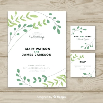 Wedding invitation template with flat design