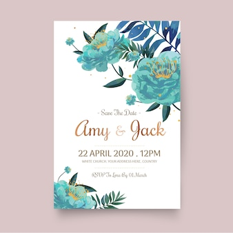 Wedding invitation template with floral concept