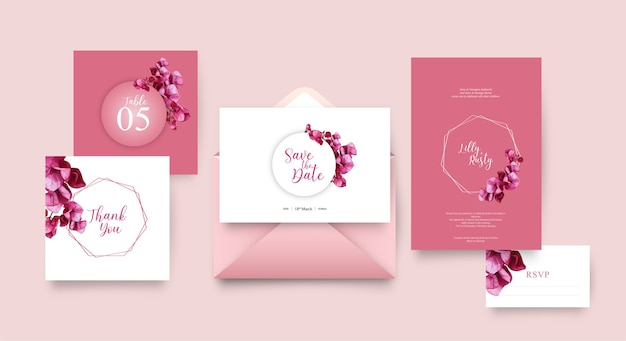 Wedding invitation template with floral design