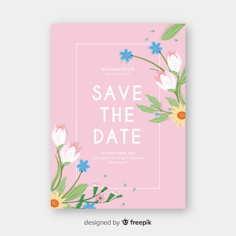Шаблон свадебного приглашения с цветочными элементами