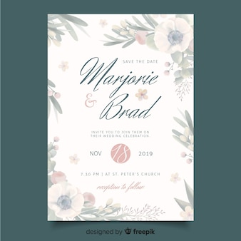 Wedding invitation template with floral frame