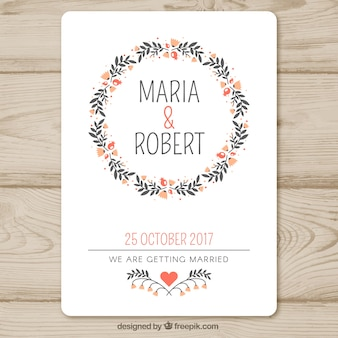 Wedding invitation template with floral garland