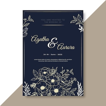 Wedding invitation template with floral ornaments