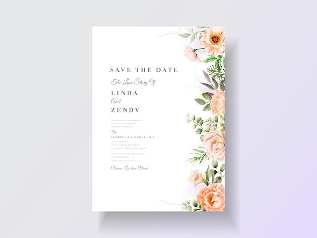 Шаблон свадебного приглашения с цветочной акварелью