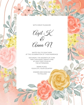 花と休暇の結婚式の招待状のテンプレート
