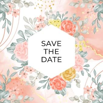 Шаблон свадебного приглашения с цветком и отпуском Бесплатные векторы