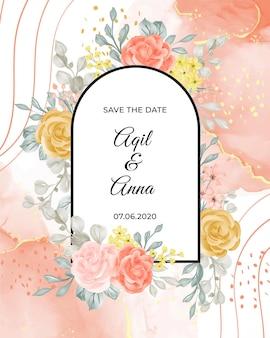 Шаблон свадебного приглашения с цветком и отпуском