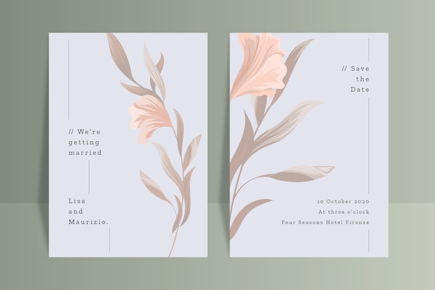 Wedding invitation template with flower