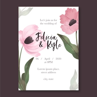 Wedding invitation template with flowers concept