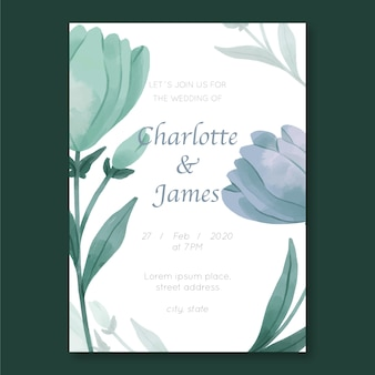 Wedding invitation template with flowers theme