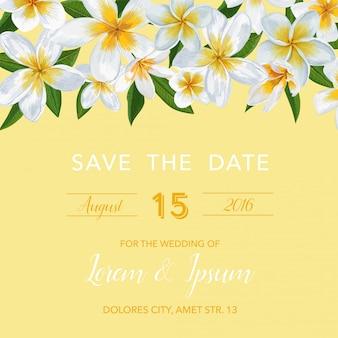 花と結婚式の招待状のテンプレート。トロピカルカード