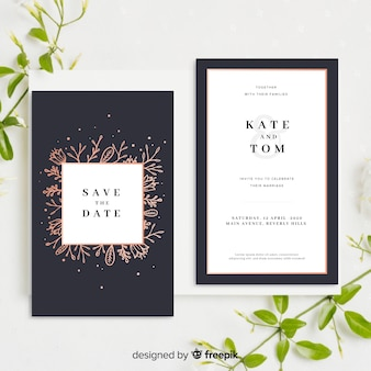 Wedding invitation template with flowers
