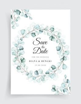Wedding invitation template with frame eucalyptus