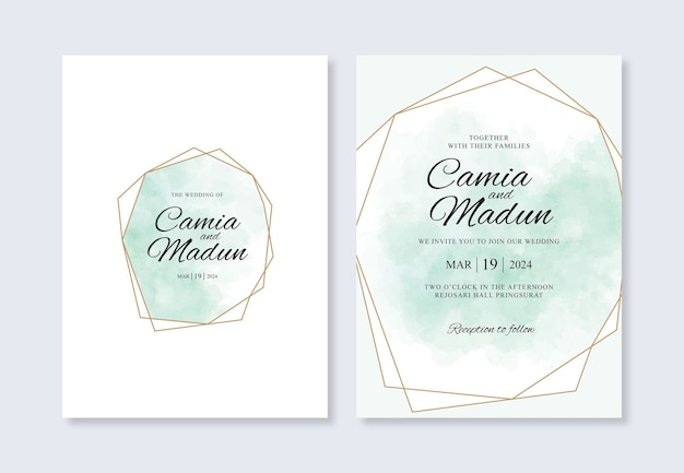 Wedding invitation template with geometric gold and watercolor splash