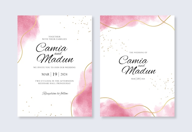 Wedding invitation template with gold line and watercolor splash
