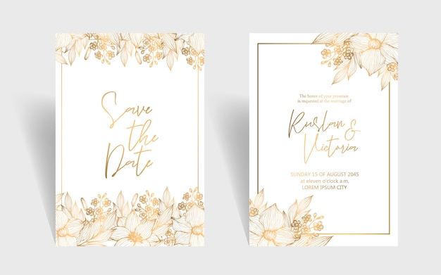 Wedding invitation template with golden botanical flowers and leaves